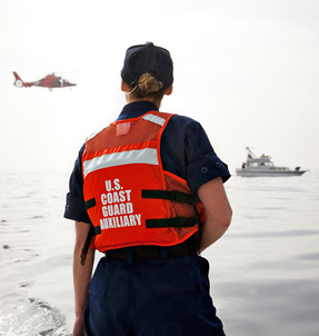 U.S. Coast Guard Auxiliary Crew on Rescue Patrol