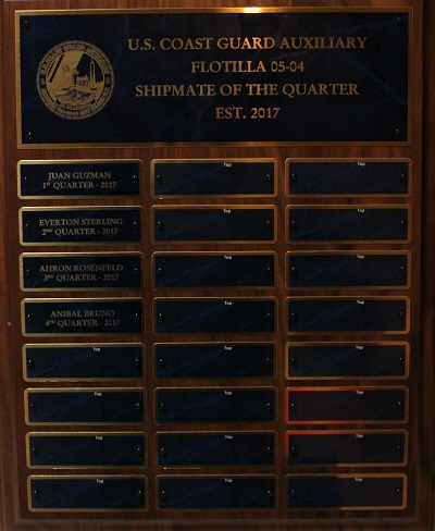 Shipmate of the Quarter Plaque