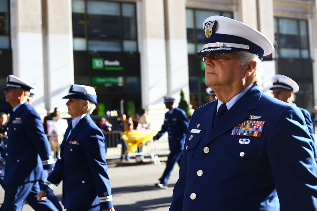 USCG Auxiliary marching on a Parade