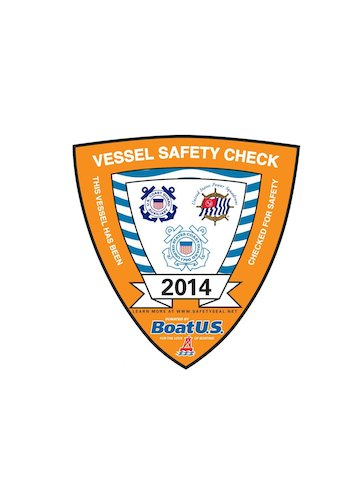 Picture of the Vessel Safety Check Sticker issued by the USCG AUX