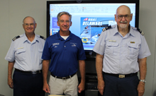 Public Education instructor Andy Smith (r) offered a Delaware State-sponsored Boating Safety class to 14 University of Delaware students at the Hugh R. Sharp campus in Lewes Delaware.  Andy's lively and often humorous presentation concluded with everyone completing the state test and gaining their Delaware Boating certificate. Pictured (l-r) CG Auxiliary Vessel Examiner Bill Tower, Jon Swallow, Captain NOAA (Ret.), Director of University of Delaware Marine Operations, and CG Auxiliary Lead Instructor, Andy Smith.