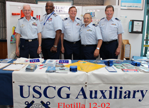 Pictured from the left:  Kenneth H Steinmann, Ernest D Stevens, Donald A Gerhart, Martin P Inteli, and John L. Ballantyne, all who provided event participants with general boating safety information and guidance.