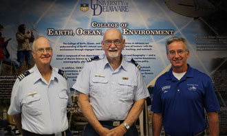 (L) Auxiliary Vessel Examiner Bill Tower; Public Education Officer Andy Smith; and Delaware University Director of Marine Operations, Jon Swallow.