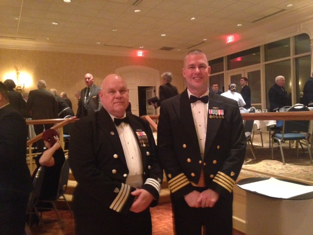 Picture of Div5 DCDR Rick Mayes with Captain Carroll, Deputy Sector Commander for Sector Hampton Roads at the division Change of Watch, Jan 2017.