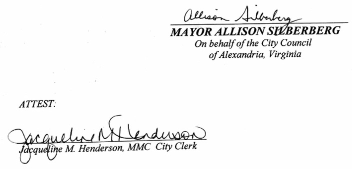 Mayor Signature and Attest