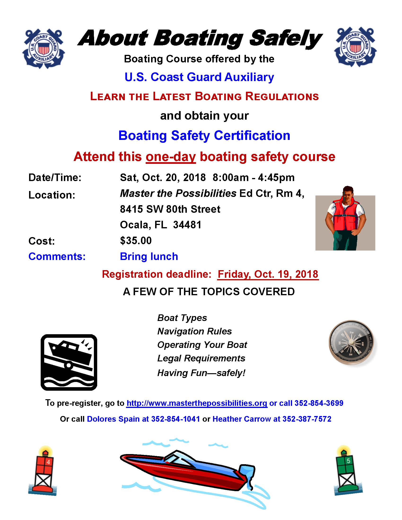 Flyer About Boating Safely Course