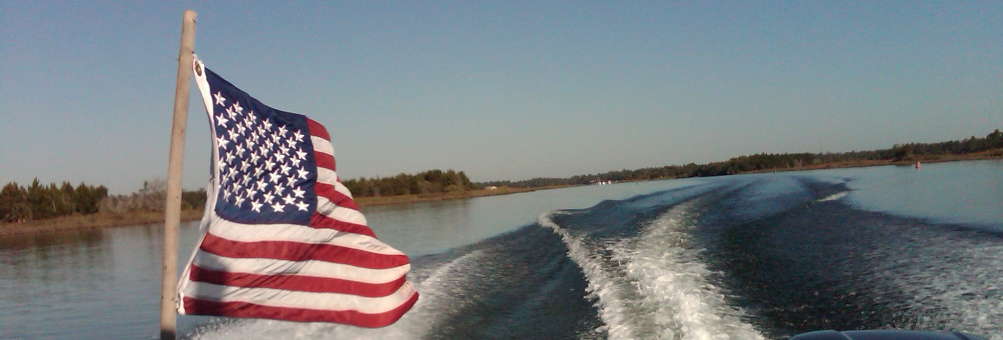 Banner image, US flag and river