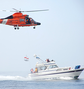 Coast Guard Helicopter and Boat Training
