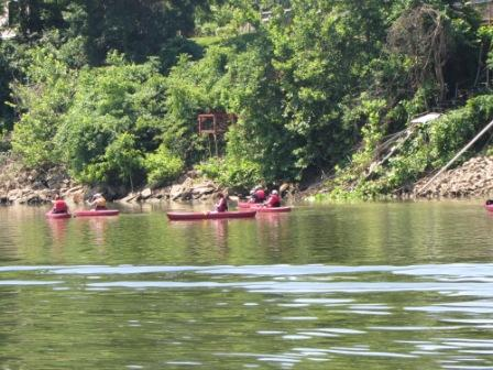 Kayaks on the Cumberland River