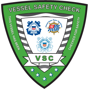 Green shield With Coast Guard and Power Squardron embelems  with is a Vessel Safety check  decal