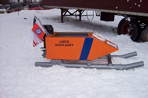 Photo of a Auxiliary built cardboard sled