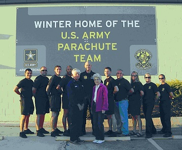 "Picture of Charles and Jill Heath with 10 members of the Golden Knights during Coast Guard Auxiliary class ""About Boating Safely"" in Homestead, FL."