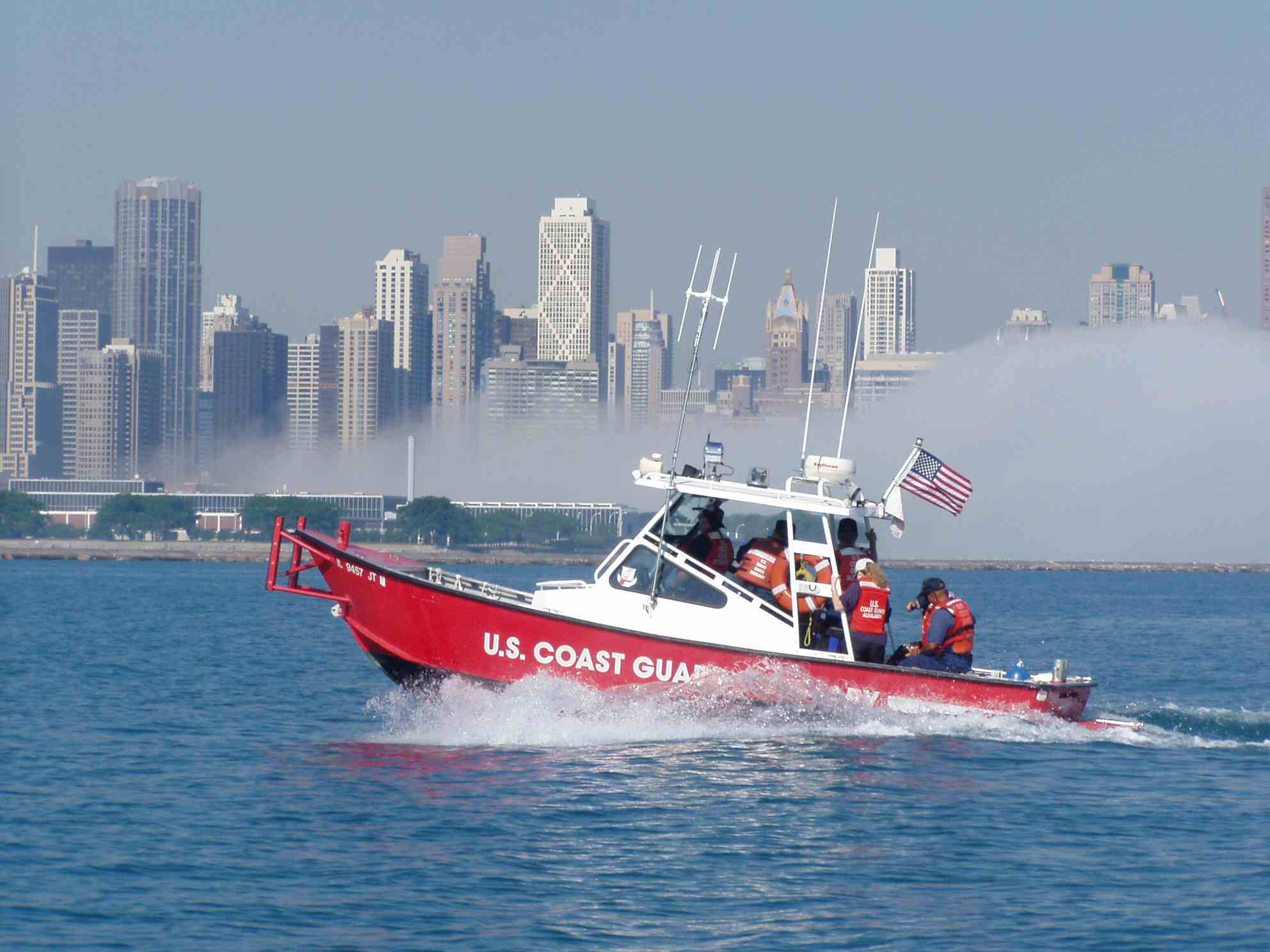 CG Auxiliary patrol boat with Chicago skyline
