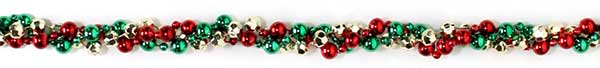 Red, green and gold bead garland