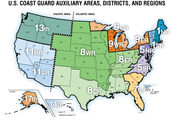 US Coast Guard Auxiliary geographical map