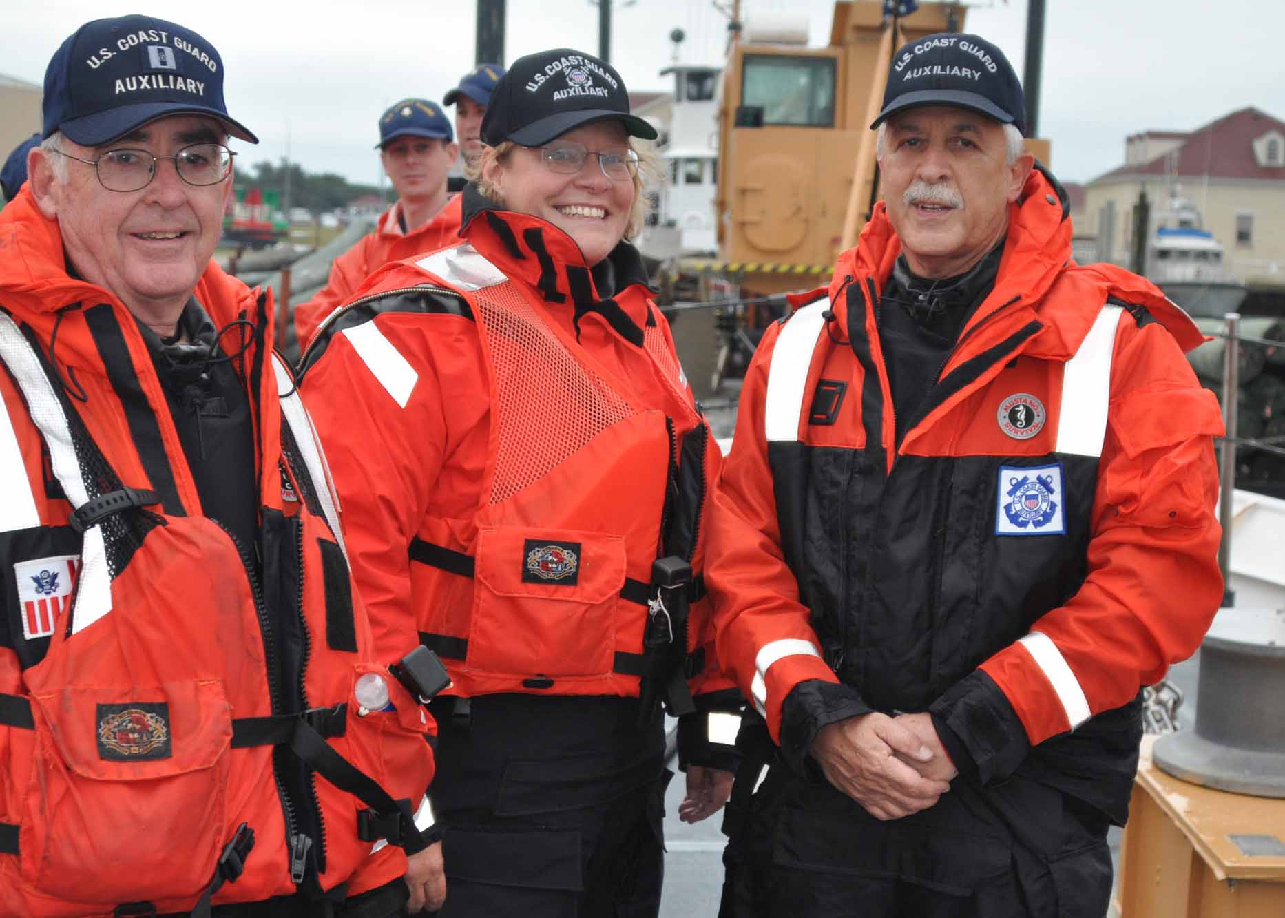 054-20-10 Auxiliarists Barbara Pohlman, Fred Jelinek & Dennis Szeba on board USCG Cutter Block Island, preparing for a Public Affairs Mission with FOXNEWS. Photo by PA3 David Weydert, USCG.