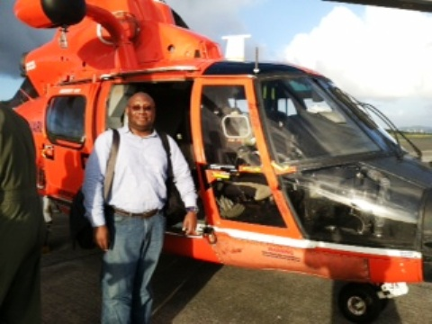 David Alexandre in St. Croix after his ride on a Coast Guard helicopter