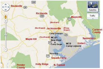 New River Nc Map Area Waterways Information